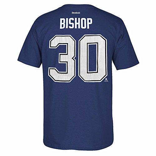Reebok Ben Bishop Tampa Bay Lightning NHL Blue Official Premier Player Name & Number Jersey T-Shirt For Men (Tampa Bay Lightning Player)