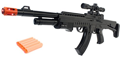 Super Action Toy Gun Soft Dart AN94 Rifle w/ Lights, Sounds, Vibrating Recoil Action, Scope Attachment, Stock Attachment, & Soft Darts (Toy Dart Gun)