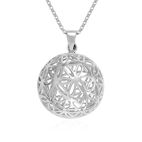 MIMI Sterling Silver Flower of Life Kabbalah Harmony 3D Ball Pendant Necklace, 18 inches