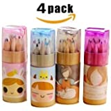 Edmonds Cute Mini Colored Pencils Set for Kids With Cap Sharpener, Cylindrical Box Package, (Total 48 Colored Pencils, 3.54 inches, 12 pieces per cylinder)