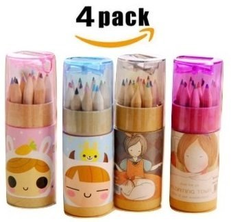 Edmonds Cute Mini Colored Pencils Set for Kids with Cap Sharpener, Cylindrical Box Package, (Total 48 Colored Pencils, 3.54 inches, 12 Pieces per Cylinder ) (4 -