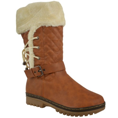 Tan FUR BOOTS GIRLS WOMENS SIZE LOW CALF HEEL LINED LACE LADIES Faux WINTER FLAT Brown Leather SNOW OUXwnq