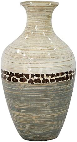 Heather Ann Creations W33954-WGY Crafted Classic Large Water Jug Spun Bamboo Vase