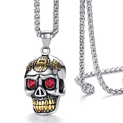 Mens Stainless Steel Pendant Necklace Gothic Skull Pendant with 24 Inches Link Chain