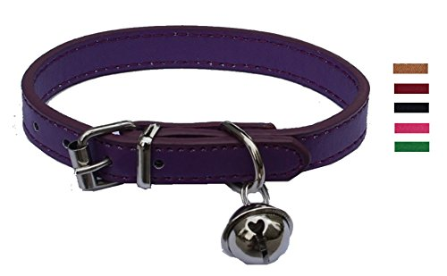 Purple Leather Pet collars for Cats,Baby Puppy Dog,Adjustable 8