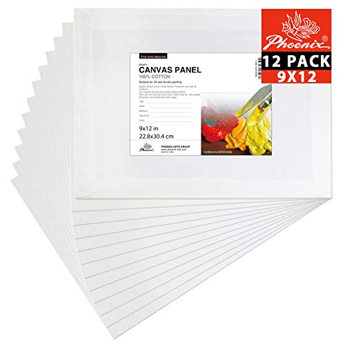 PHOENIX Painting Canvas Panel Boards - 9x12 Inch / 12 Pack - 1/7 Inch Deep Super Value Pack for Professional Artists, Students & Kids ()