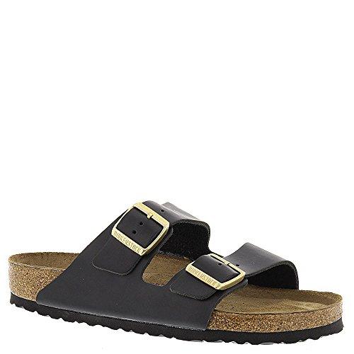 Birkenstock Unisex Arizona Soft Footbed Suede Sandals, Hunter Black Leather - 37 N EU / 6-6.5 2A(N) US
