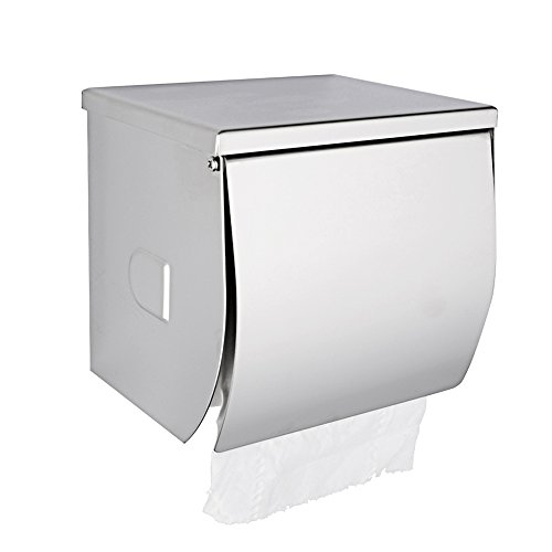 Dreamsbaku Wall Mount Toilet Paper Holder Bathroom Roll Tissue Holder with Mobile Phone Storage Shelf and Cover, Stainless Steel, Polished Chrome
