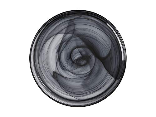 Maxwell & Williams Marblesque Serving Plate with Alabaster Swirl Effect, Handmade Glass, Black, 34 cm