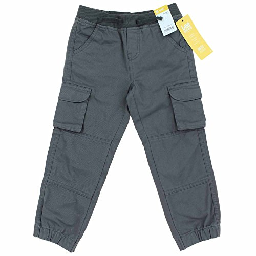 Lee Dungarees Boys Cargo Relaxed Fit Jogger (6, Grey) (Lee Side Elastic Pants)
