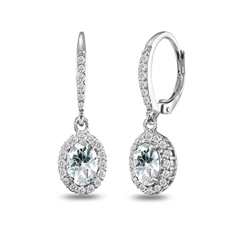 - Sterling Silver Aquamarine Oval Dangle Halo Leverback Earrings with White Topaz Accents