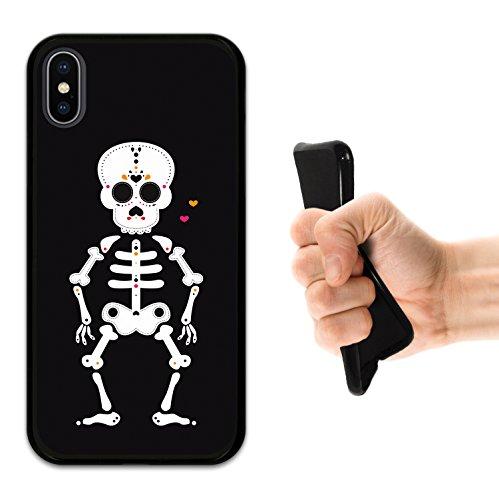 iPhone X Hülle, WoowCase Handyhülle Silikon für [ iPhone X ] Halloween Mexikanischer Schädel, Skelett und Herzen Handytasche Handy Cover Case Schutzhülle Flexible TPU - Schwarz