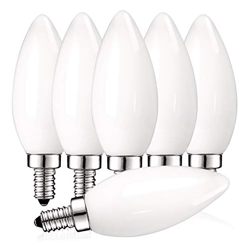 Luxrite 4W Frosted Candelabra LED Bulbs Dimmable, 2700K Warm White, 360 Lumens, E12 LED Bulb 40W Equivalent, Torpedo Tip Glass, LED Candle Light Bulbs, UL Listed (6 Pack)
