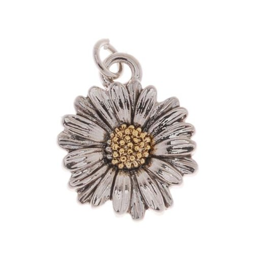 Delight Beads Antiqued 22K Gold and Imitation Rhodium Plated Daisy Charm 13x16mm (1)