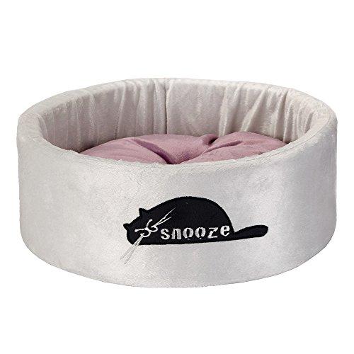 Beeztees Snooze Panier en Peluche pour Chat Gris 40 x 40 x 15 cm