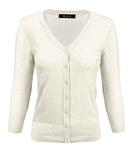 - YEMAK Women's 3/4 Sleeve V-Neck Button Down Knit Cardigan Sweater CO078-IVR-3X Ivory