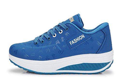 Eagsouni® Damen Mesh Keilabsatz Plateau Freizeitschuhe Höhe Zunehmende Sportschuhe Warm Baumwollnetz Fitnessschuhe Sneaker Blau