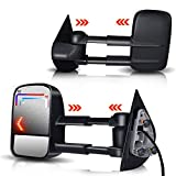TERRAIN VISION DOT Approved Pair Towing Mirror Power Heated Side View Mirror w/Arrow Lights Black Towing Mirror Fit for 2007 2008 2009 2010 2011 2012 2013 Chevy Silverado/GMC / Cadillac/Sierra