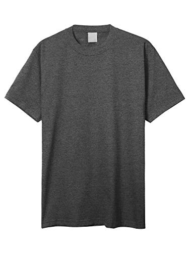 Hat Heavyweight - Hat and Beyond Mens Super Max T Shirt Heavyweight Solid Short Sleeve Tee S-5XL (1ks06_Charcoal Gray/XL Tall)