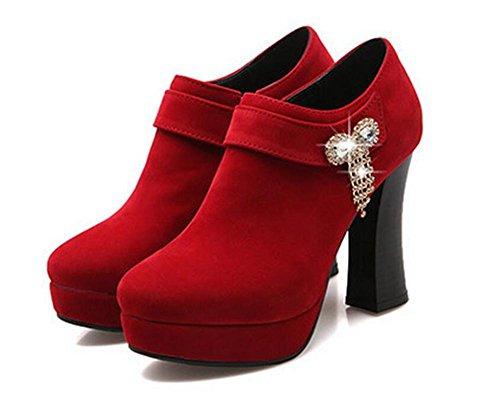 Womens Sequins arc diamant épais avec des chaussures talon bottes confort décontracté , red , 38