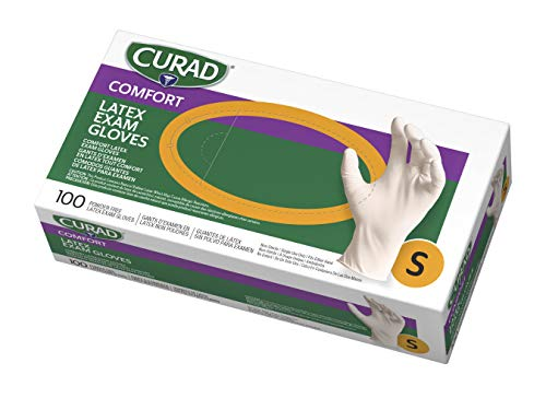Curad Disposable Medical Latex Gloves, Powder Free Latex Gloves are Textured, Small, 100 Count