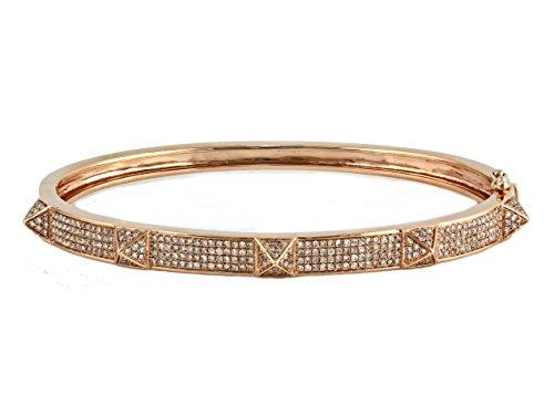 1.00ct Pavé Diamonds in 14K Gold Spike Pyramid Stud Bangle Bracelet - 6.5