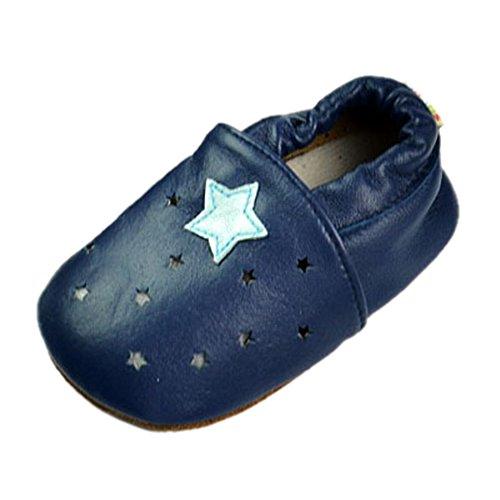leap frog Cartoon Leather Sneaker, Baby Mädchen Lauflernschuhe Blau / Sterne