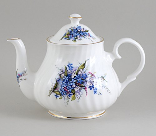 English Bone China Forget Me Not 6 Cup Teapot