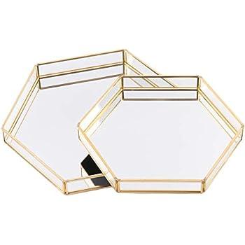 Koyal Wholesale Glass Mirror Hexagonal Trays Vanity Set of 2, Gold Decorative Mirrored Hexagon Trays for Coffee Table, Bar Cart, Dresser, Bathroom, Perfume, Makeup, Wedding Centerpieces