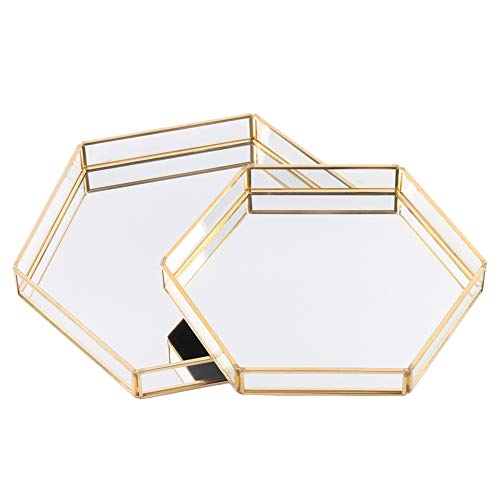 Koyal Wholesale Glass Mirror Hexagonal Trays Vanity Set of 2, Gold Decorative Mirrored Hexagon Trays for Coffee Table, Bar Cart, Dresser, Bathroom, Perfume, Makeup, Wedding Centerpieces