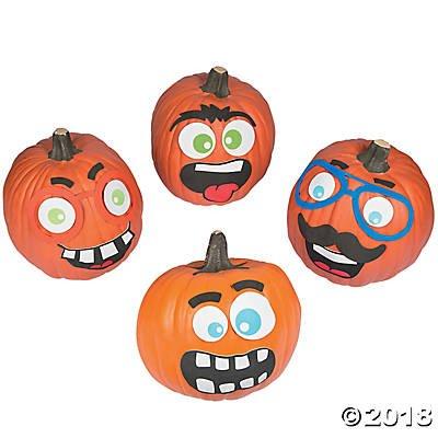 Funny Foam Face Pumpkin Decorating Craft Kit Makes 12 - Halloween Decor