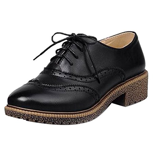Coolcept Zapatos Clasicos de Tacon Ancho para Mujer Black