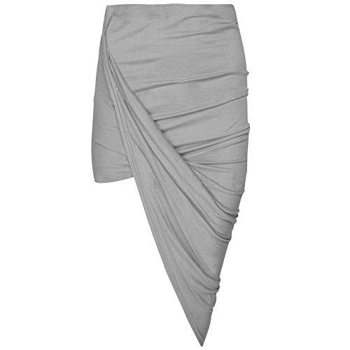 Janisramone Nouveau Femme Jupe asymtrique Ouverte sur le c?t, jupe avec fente sur le c?t Gris