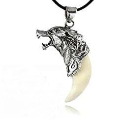 Jovana 1PC Cool Brave Man Wolf Tooth Necklace Titanium Steel Domineering Pendant Necklace