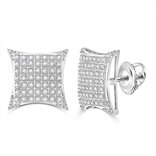The Diamond Deal 10kt White Gold Mens Round Diamond Square Kite Cluster Stud Earrings 1/3 Cttw