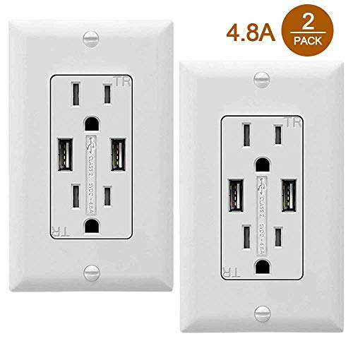SZICT USB Outlet Receptacle, 2 Pack UL-listed 4.8A TR Ultra-fast USB Charging Receptacle 2 USB Ports Receptacle Charger, 15A Wall Receptacle Outlet with Wall Plate, White