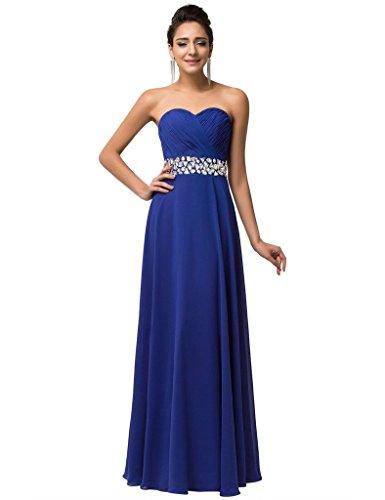 BessWedding Bridesmaid Homecoming Dresses Party Chiffon Dresses Beaded Royalblue Long 2016 FnAF7qwx