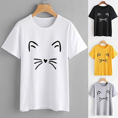 Particolari Estiva Corta Manica shirt Magliette Homebaby Gatto T T Maglietta Elegante Donna Corte Shirt Ragazza Grigio Vintage Tumblr Stampato R8B87Pqw