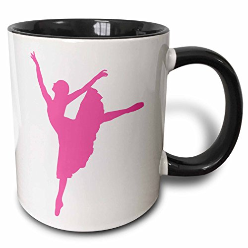 3dRose 157853_4 Trio of Ballet Dancer Mug, 11 oz, Black