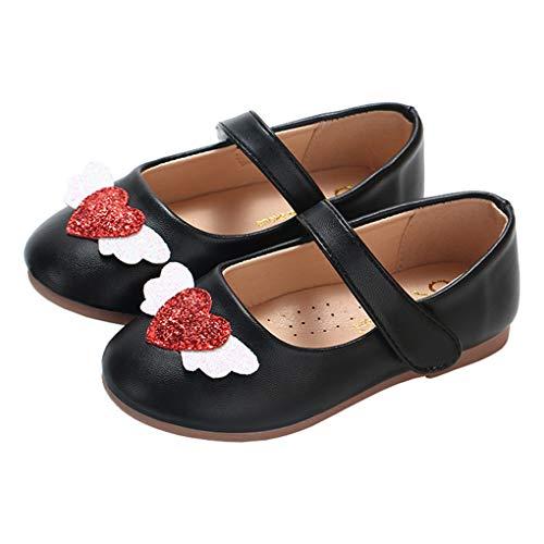 lakiolins Little Girls - Zapatos de Ballet con alas de ángel Brillantes, diseño de corazón, Negro, 7M US Toddler/14.1cm