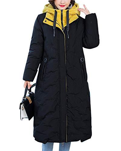 Cuello Chaqueta Gruesa Mujeres Abrigo Larga Penggenga De Cremallera Capucha Parka Collar Con Amarillo Sección 8TgSxxnqw