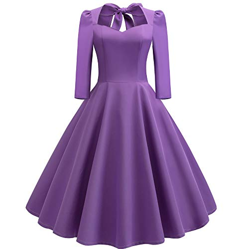 Women Dress Ladies 3/4 Sleeve Hollow Out Bow Formal Wedding Dress Cocktail Retro Swing Evening Party Skirt Vintage Dress from Daorokanduhp Women Dress