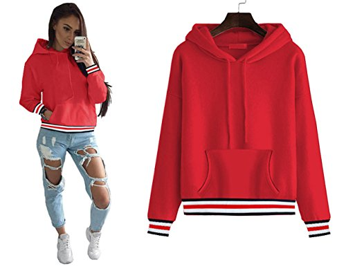 Longwu Women's Half Dome Hoodie Thickening Sweatshirt Casual,Loose Fit Pullover Hoodie Jacket With villus (Ucla College Leather)