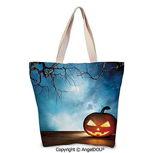SCOXIXI Halloween printed Tote Schoolgirl Bag Ladies Shopper Canvas Bags Tradit]()