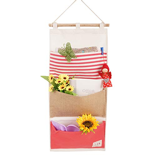 - LINENLUX Over The Door Organizer Wall Closet Hanging Storage Bag Multilayer Linen Fabric Pouch Debris (Red,11.8x25.1In)