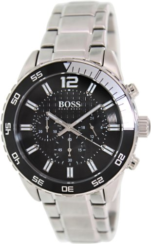 Hugo Boss 1512806 44mm Silver Steel Bracelet & Case Mineral Men's Watch