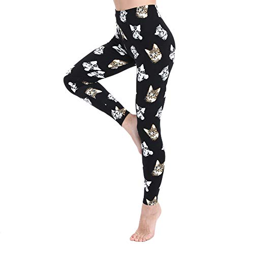 Leggings for Women and Girls-High Waisted Soft Printed Pants- One/Plus Size 20+ Design (Cat, One Size (US 2-12))