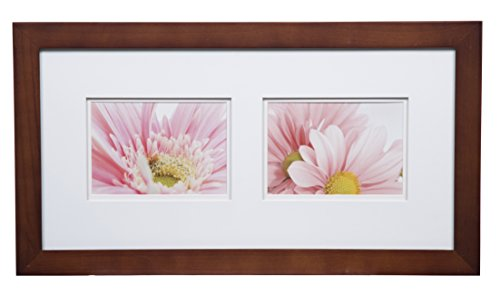 Gallery Solutions Photos 10x20 Flat Walnut Wall Frame with Double White Mat for Two 5x7 Pictures, 10