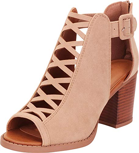 Cambridge Select Women's Open Toe Crisscross Cutout Chunky Stacked Heel Ankle Bootie,7.5 B(M) US,Light Taupe IMSU ()