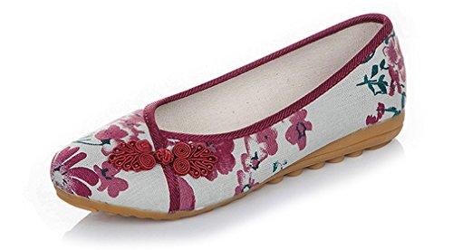 Soojun Womens Chinese Frog Button Pointed-toe Slip On Shoes #04 Red nsI5r